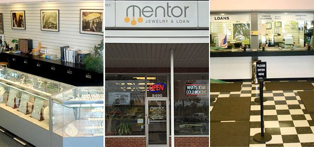 Photos of the inside and outside of Mentor Jewelry and Loan